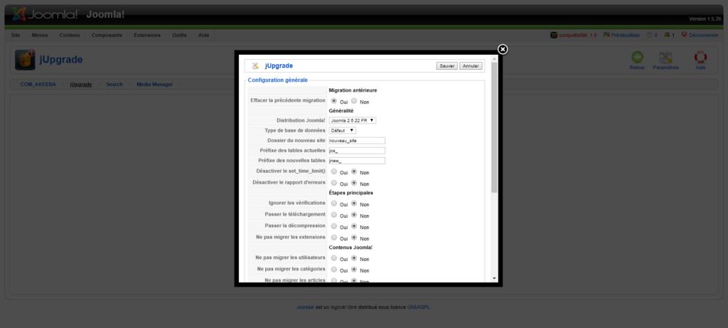 migration joomla 1.5 vers 3 : configuration jUpgrade