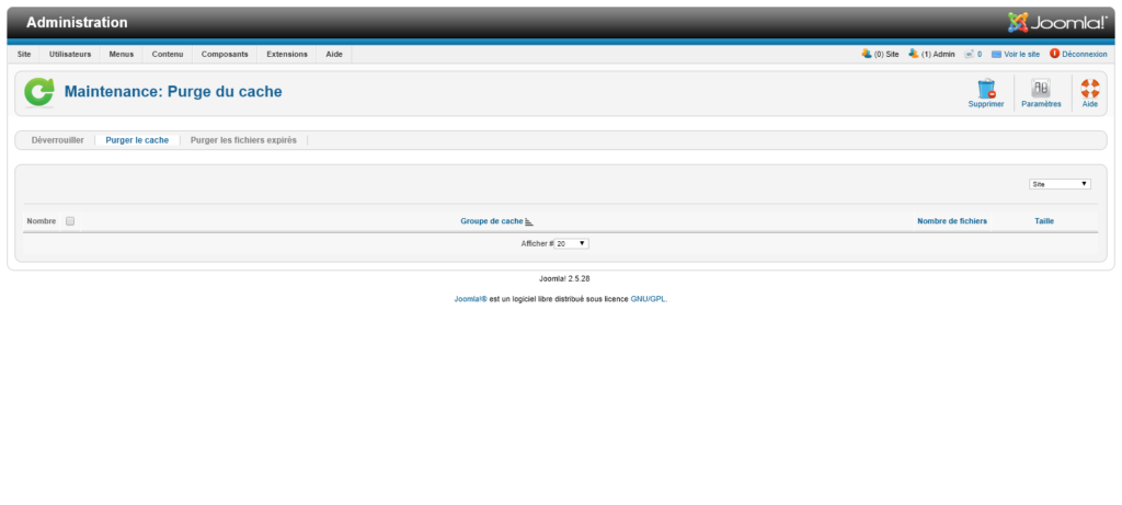 Migration Joomla 2.5 vers 3 : purge cache