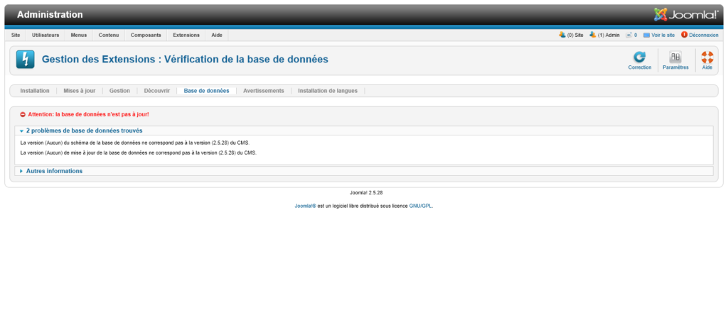 Migration Joomla 2.5 vers 3 : correction base de données