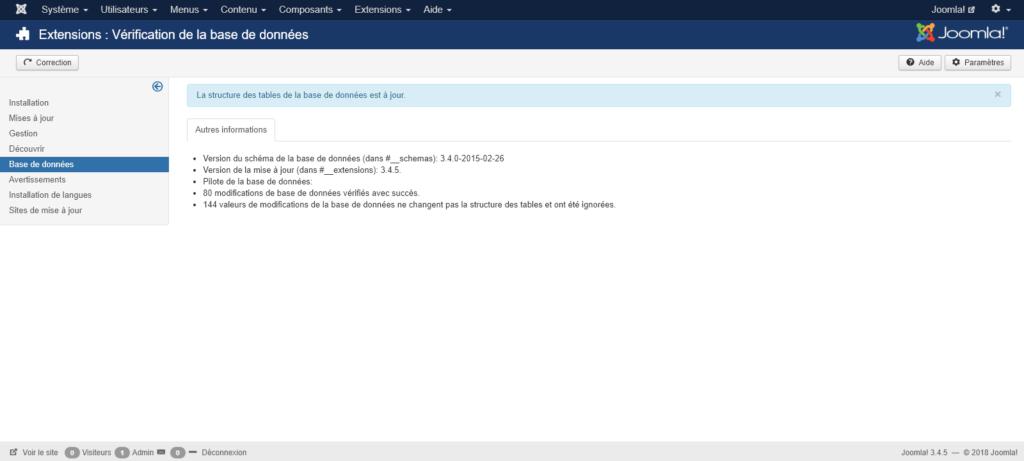 Migration Joomla 2.5 vers 3 : verification bdd