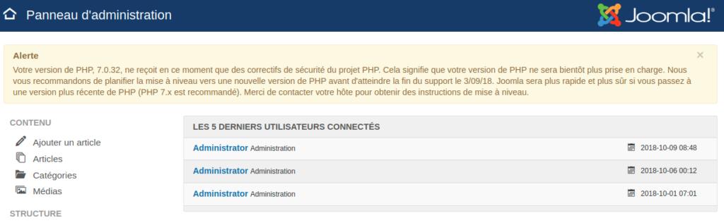 Votre version de PHP, 5.6.38, ne reçoit en ce moment que des correctifs de sécurité du projet PHP
