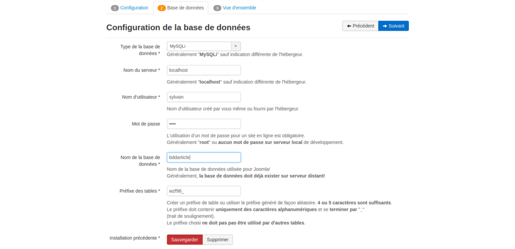 nom base de données Joomla
