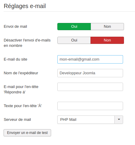 Joomla ne peut instancier la fonction mail