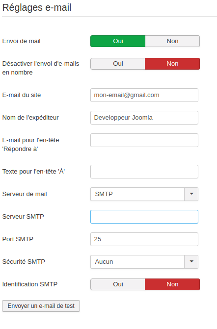 SMTP JOOMLA